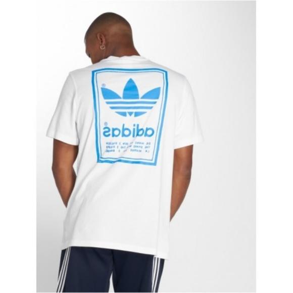 adidas Originals 3 Stripes T Shirt in Electric Blue  retro three stripes trefoil